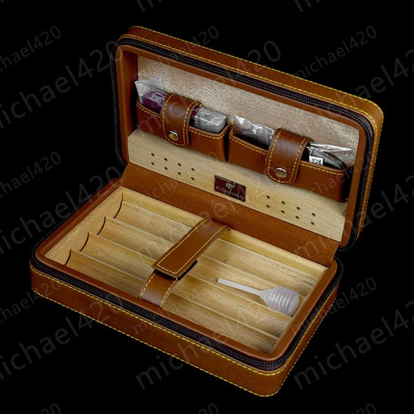New COHIBA Cigar Humidor Cedar wood humidor Carrying travel packets Can installed 4 pcs cigar with Lighters and cigar cutters