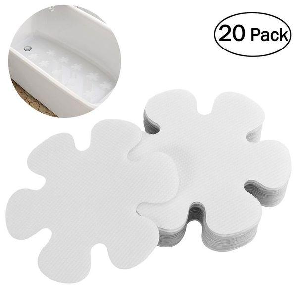 20pcs fiore forma PEVA antiscivolo adesivi vasca da bagno decalcomanie sicurezza bagno doccia pedate 10 cm (trasparente)