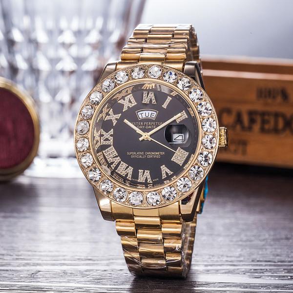 Relogio Oro Hombres de lujo Automático Iced Out Watch Reloj de la marca para hombre Presidente de Roma Reloj de pulsera Reloj rojo de negocios Relojes de diamantes grandes Hombres