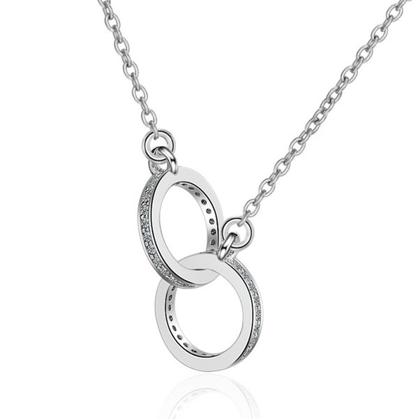 Two Circle accessory with steel glass Zircon rose gold and Imitation Rhodium plated Metal Chain For Women Fashion Necklace