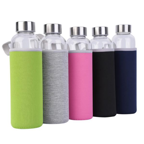 Botella de agua plástica del deporte del vidrio de 550ml universal BPA alta resistencia a la intemperie con infusor de filtro botella de té Jarro bolsa protectora