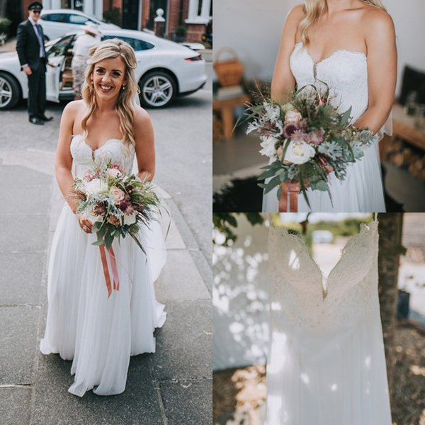 Beach Style Wedding Dresses Boho Strapless Chiffon A Line Lace Elegant 2018 New Arrival Custom Made in China Bridal Gowns Ivory Romantic