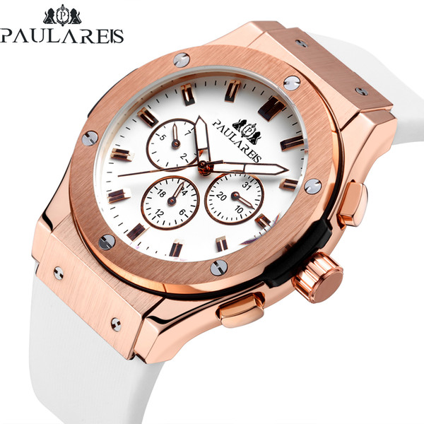 Men Automatic Self Wind Mechanical Rose Gold Silver Black Case New Model White Rubber Strap Casual Geneve Watch Y1892103