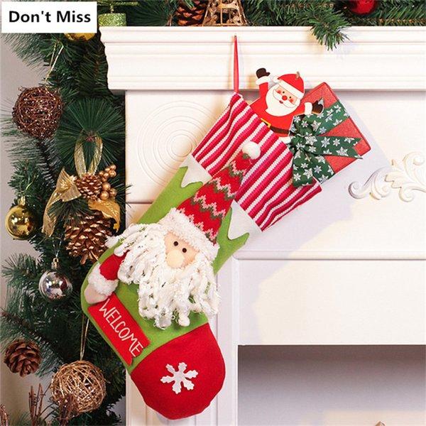 Singel kleiner Weihnachtsstrumpf Weihnachtsmann Schneemann Feiertags s