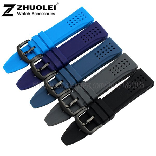 cb0565c305f 24mm New Black Dark blue orange Waterproof Silicone Rubber Men's Watch  Strap Band Deployment Buckle 12