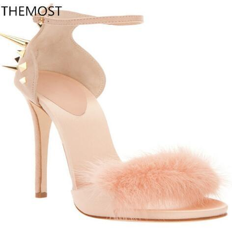 High-heeled sandals 2 colors to choose from Metal decoration False hair Women shoes spike stud shoes Tower buckle openings