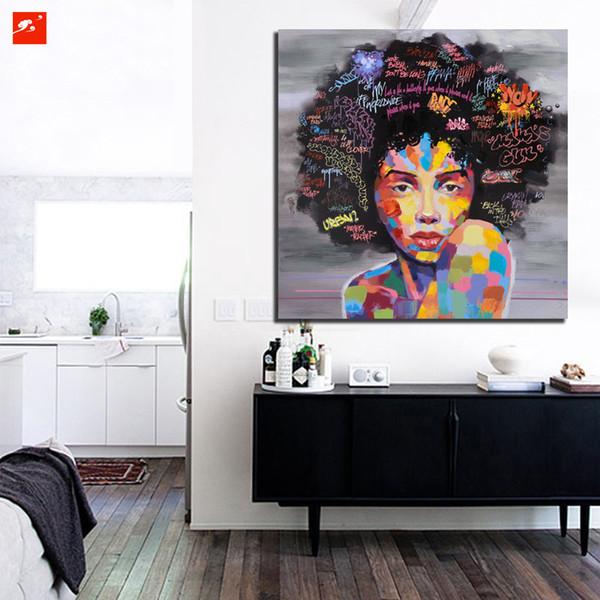 New Graffiti Street Wall Art Abstract Modern African Women Portrait Handpainted & HD Print oil painting,Home Decor High Quality Canvas g177