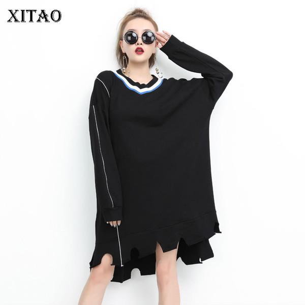 [XITAO] Новый 2018 осень Европа мода женщины V-образным вырезом нерегулярные сплошной цвет платье женский полный рукав выше колена Платье GWY2774
