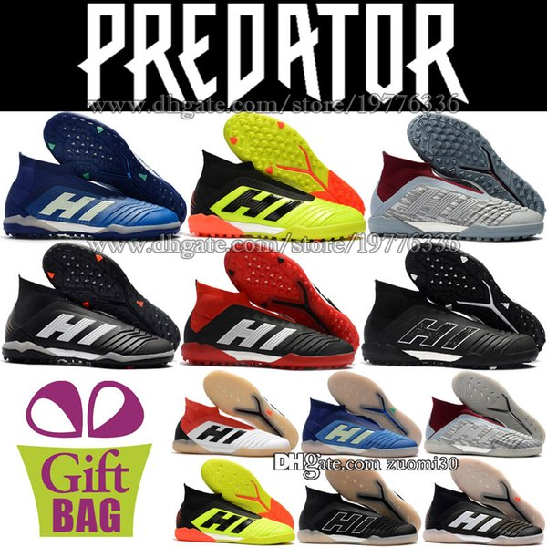 New Original Laceless Predator Tango 18 IN TF Soccer Cleats Turf Socks Soccer Boots Trainers Predator Leather Indoor Football Shoes Boots