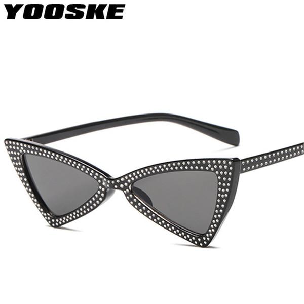 YOOSKE Diamond Triangle Sunglasses Women Brand Luxury Crystal Cat Eye Sun Glasses Ladies Small Black Glasses Shades