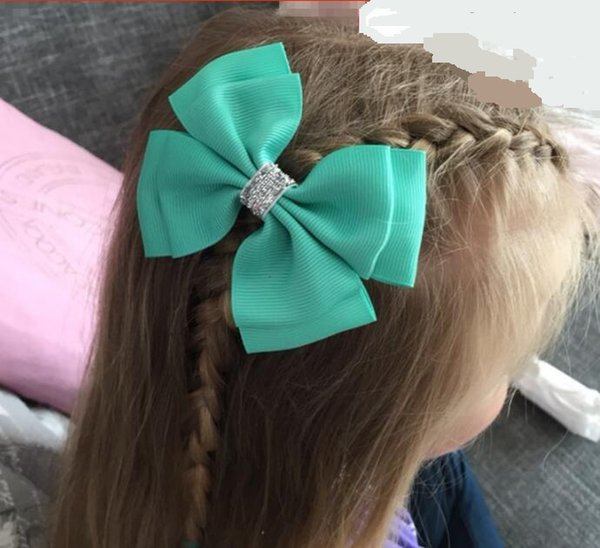 30 pces Ribbon barrettes Clips Boutique girl Shining bling Hair Bows With Clip Hairpins For Kids Girl Hair Accessories196 colors available