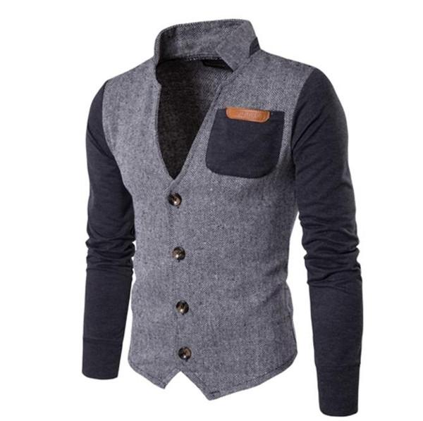 2018 neue europäische und amerikanische Männer stitching Cardigan Kragen Jacke Handel Herren Pullover lässig Jacke