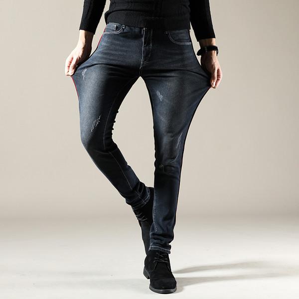 Street Style Men's Denim Jeans Webbing Scratched Men Jeans Pants Stretch Trousers Black Slim Fit Pantalones Hombres