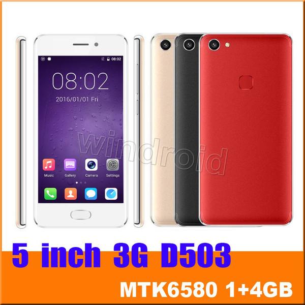 Günstigstes 5 Zoll D503 3G Smartphone MTK6580 Viererkabel-Kern 1GB 4GB WCDMA entsperrte Android 6.0 854 * 480 Doppel-SIM Kamera 5MP bewegliches Handy 50pcs