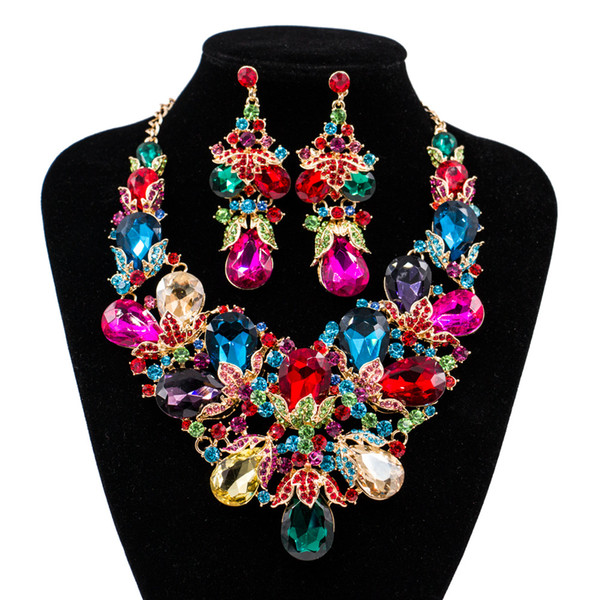 European American Colorful Glass Rhinestones Bridal Wedding Jewelry Set Exaggerating Beautiful Big Necklace and Earrings for Party