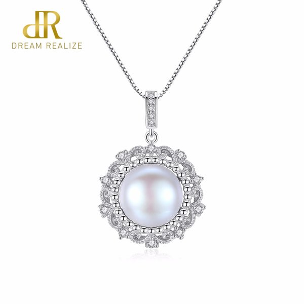 DR Brand 10-10.5MM Big Gray Freshwater Pearl Pendant Fashion Style Gift For Women Natural Pearls 925 Silver Choker Necklace