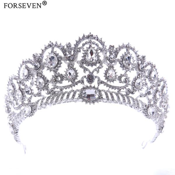 Trendy Rhinestones Crystal Crowns Wedding Hair Accessories Silver Bride tiara Women Crystal Hairwear Head Jewelry Free shipping