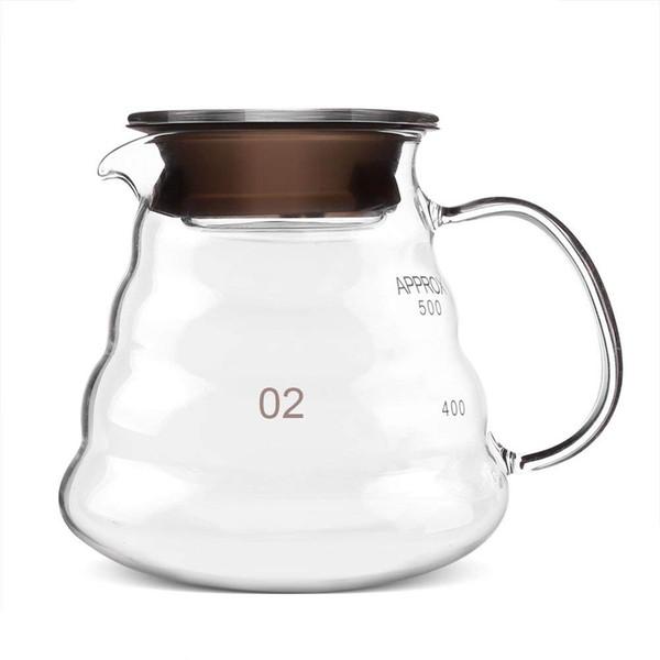 Serveur de café de 600ml, pot de café en verre standard, tasse en verre de café