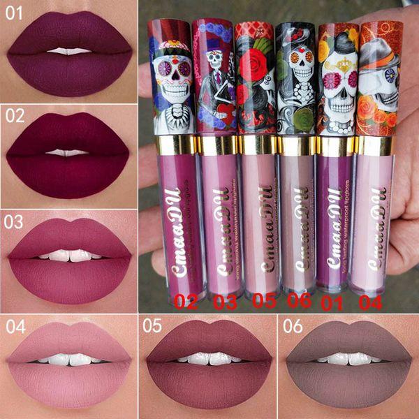 New Makeup CmaaDu Long lasting Matte 6colors Liquid lipstick Skull Lip Gloss Sexy Waterproof Red Velvet Lip Gloss High quality DHL shipping