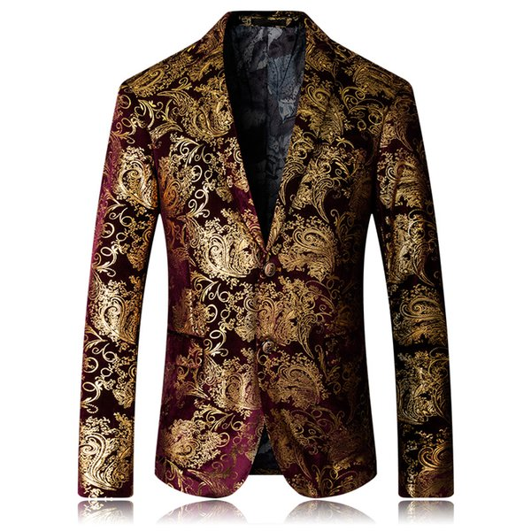 Golden Print Blazer Wedding Host Evening Dress Suit Coat 2018 New Luxury Brand Fashion Floral Mens High Quality Blazer Jacket