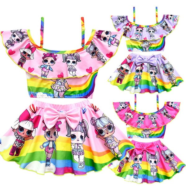 best selling 3 color New girls rainbow swimwear suit childrens lotus leaf sling floral printed tops+lutos leaf bow pants two-piece  sets H112