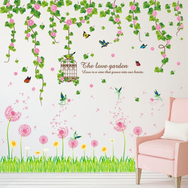 [SHIJUEHEZI] Flowers Wisteria Wall Stickers PVC Material Grass Baseboard Stickers for Living Room Kindergarten Decoration
