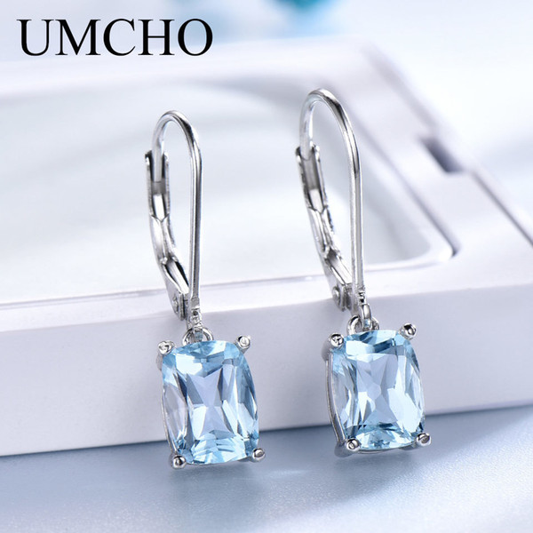 UMCHO Genuine 925 Sterling Silver Sky Blue Topaz Drop Earrings Elegant Gemstone Wedding Engagement Jewelry For Women Gifts S18101206