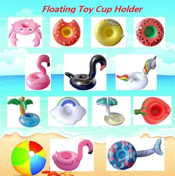 Floating Toy Cartoon Flamingo Unicorn watermelon shape Cup Holder Swimming Pool inflatable toy aquatic floating row Floating Hold I308