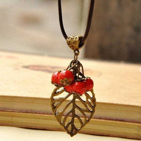 Wholesale ceramic sweater chain handmade retro cherry metal leaf ceramic sweater chain handmade retro cherry metal leaf long necklace rope costume pendant fashion simple clothing mozeypictures Gallery