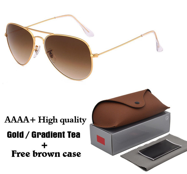 High Quality Women Men Sunglasses Brand Design Metal Frame Glass Lenses driver Sport Eyewear Pilot Sun Glasses with brown cases