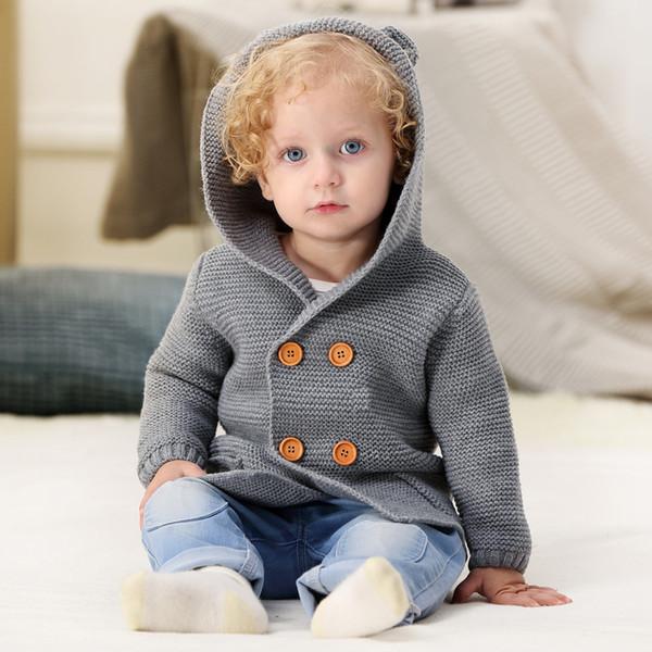 Kış Kazak Bebek Kız Cardigans Için Sonbahar Kapşonlu Yenidoğan Boys Örme Ceketler Karikatür Ayı çocuk Uzun Kollu Giyim