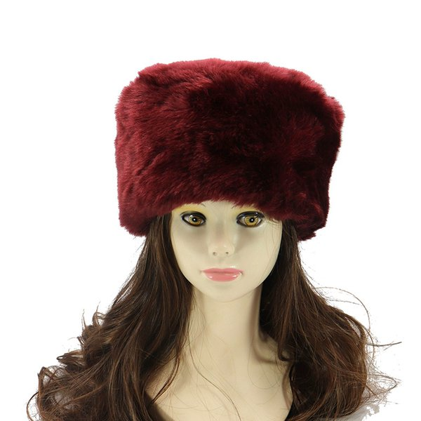 b661cb1b9ab Winter Hats For ladies Bomber Hat Fluffy Faux Fox Fur Red Warm Earflap Cap  Windproof Women Thicker Russian Ushanka Hat Black