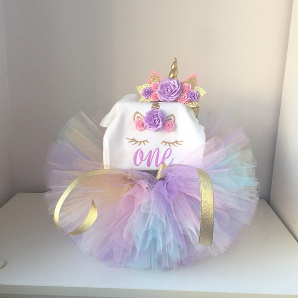 New Baby Girls Clothes Infant 1 Year 1st Birthday Outfits Fancy Unicorn Party Dress Baby Kid Girl Hairband+Rompers+Tutu Dress Y18100905