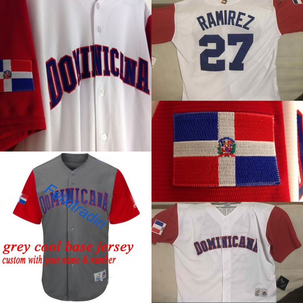 Dominikanische Republik doppelt genäht Cano Adrian Beltre Manny Machado Jose Bautista Nelson Cruz 2017 Welt Baseball Classic WBC Jersey