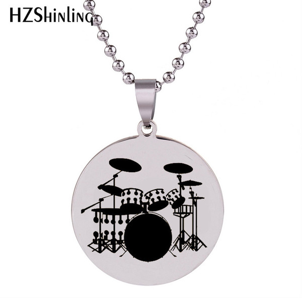 2018 New Drummer Musician Stainless Steel Pendant Silver Hand Craft Necklace Pendants Art Jewelry Ball Chain For Men HZ7