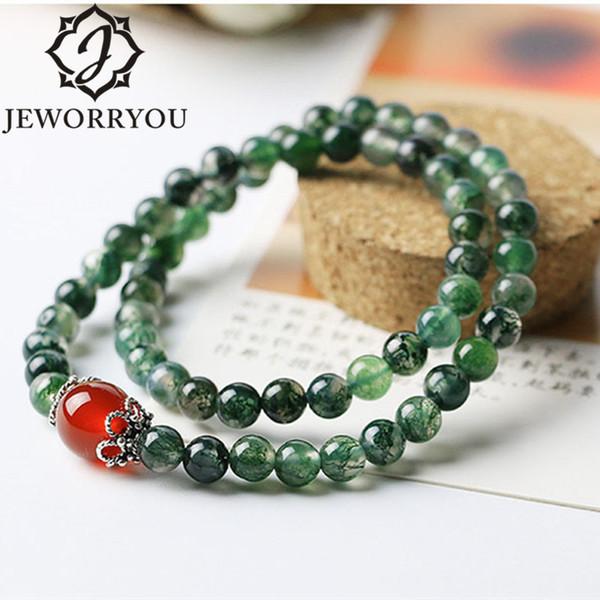 6mm Natürliche Achat Armbänder Frauen Moos Achat Perlen Armband Damen Naturstein Armband Femme