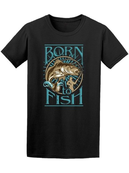 Nascido Para Pescar Dos Homens Tee Para o Homem / menino camiseta impressão camiseta homens de manga curta top tee