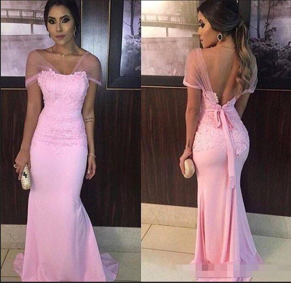 Baby Pink Sheath Evening Dresses 2018 Formal Lace Prom Gowns Cap Sleeves Floor Length Sexy Backless Special Occasion Party Dress