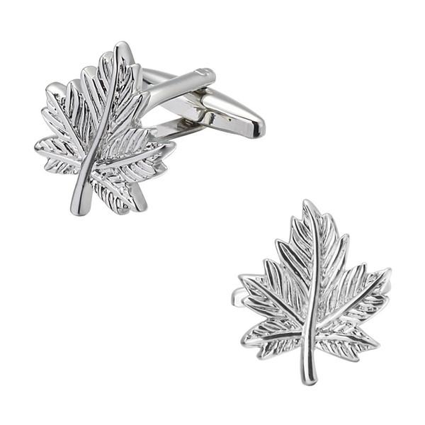 Silver Maple shirt cuff buttons Cufflinks Cuff Links menswear brand high quality laser metal jewelry design leaves