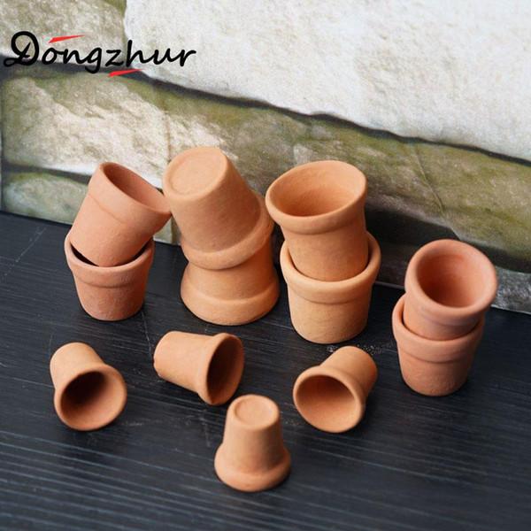 12 teile / satz Rot Keramik Töpfe Miniaturas 1:12 Puppenhaus Möbel 3D DIY Juguetes De Madera Puppenhaus Zubehör Spielzeug Haus Topf