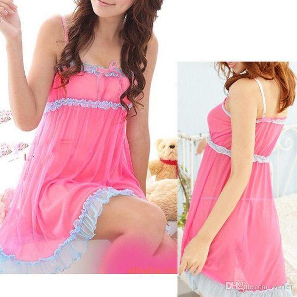 1 pc Beauty 2 Colors Women's Sexy intimates Bow Lingerie Dress Spliced Backless Dress Sleepwear G-string New