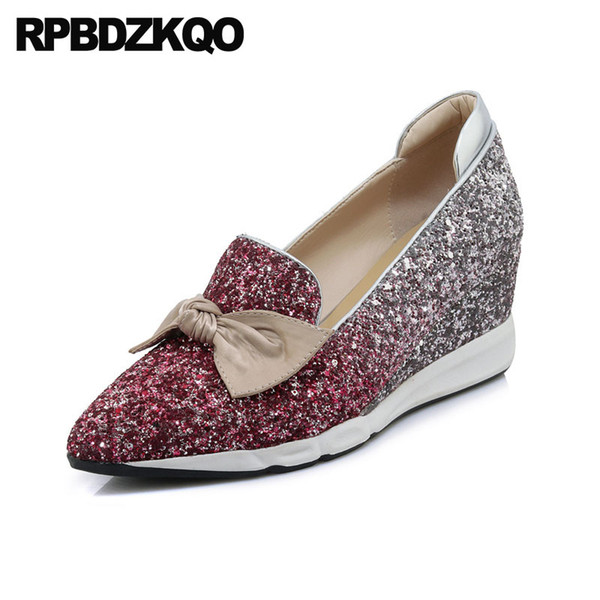 Wedge Kawaii Size 4 34 Pumps Sequin Pink Cute Women Pointed Toe Glitter Bling Wedding Shoes Japanese 2018 Bow Silver High Heels