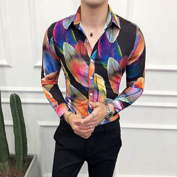 Loldeal Big feather print hemd Männer Shirt Brand New Slim Fit Casual Prom Smoking Langarm Hohe Qualität Shirts