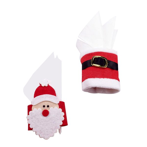 1Pcs Christmas Napkin Ring Santa Claus Napkins Buckle Table Decor Serviette Holder For Christmas Ornaments Party Supplies P20