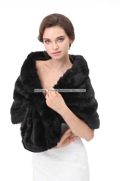 PJ70 Women Faux Fur Shawl Wraps Stole Cloak Coat Sweater Cape for Evening Party/Bridal/Bridesmaids