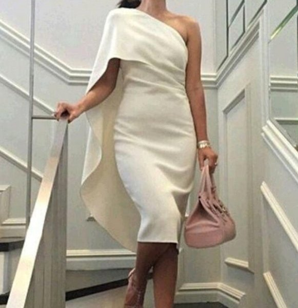 2018 New Summer Party Dress Beige/White One Shoulder Sexy Women Pencil Dresses Plus Size Elegant Club Bodycon Dress Vestidos