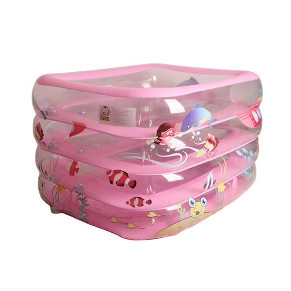 Cartoon Inflatable Swimming Paddling Pool 110*85*65cm Baby Bathroom Four Rings Infant Battub Heat Preservation Ocean Ball Pool