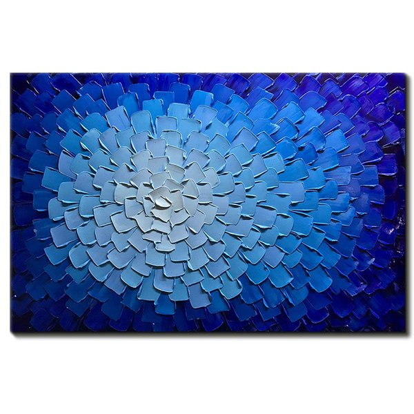 Modern Art Hand Painted Abstract Blue Flowers Pictures on Canvas Wall Art for Living Room Bedroom Home Decor