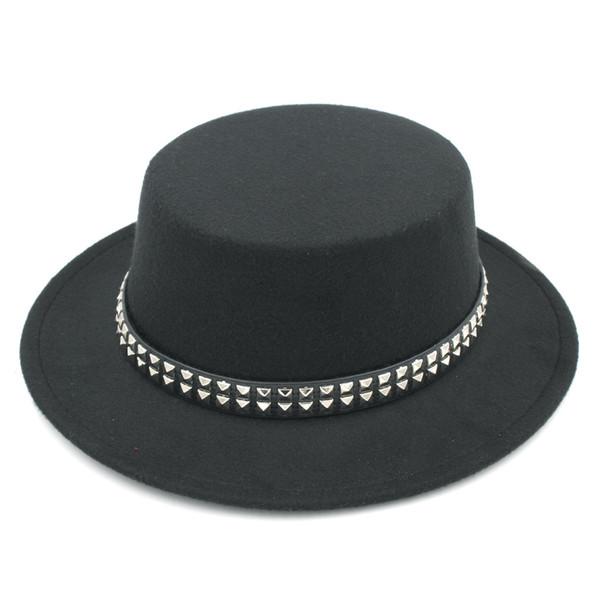 Vintage Men Women Wool Blend Bowler Cap Boater Sailor Cap Outdoor Wide Brim Pork Pie Hat Flat Top Hat Leather Band with Paillette