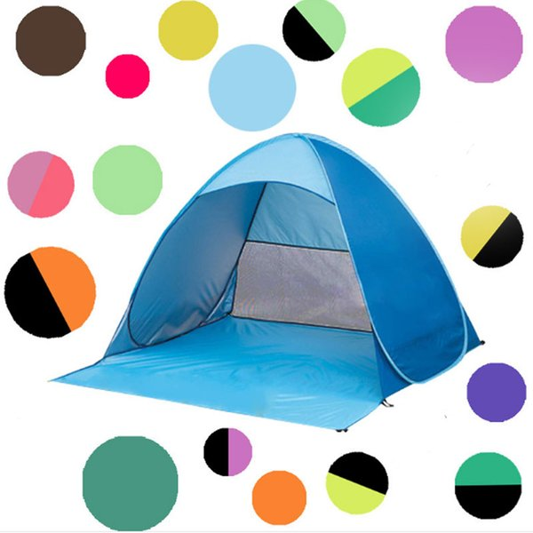 Automatic Open Tent Instant Portable Beach Tent Shelter Hiking Camping Anti-UV Family Camping Tents For 2-3 People 22 Colors Top Quality